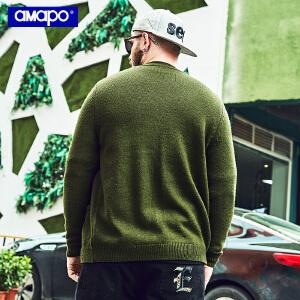 【限时抢购到手价:96元】AMAPO潮牌大码男装加肥加大码宽松潮胖子嘻哈打底开衫毛衣针织衫