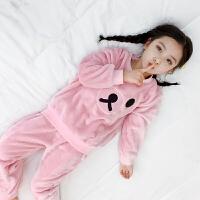 �和�睡衣法�m�q秋冬�b女童可�奂揖臃�小孩冬季珊瑚�q保暖睡衣