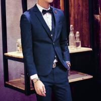 韩版新品秋装韩版男士西服修身时装小西装外套绅士商务三件套