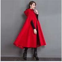 实拍2017春秋装 宽松女 加棉披风大红色斗篷毛呢外套毛呢大衣