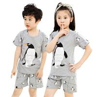 儿童睡衣女夏天薄款纯棉男童女童小孩男孩卡通家居服宝宝套装
