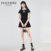 太平鸟俄罗斯方块POLO领连衣裙女2020夏季新款黑色裙子A6FA92250