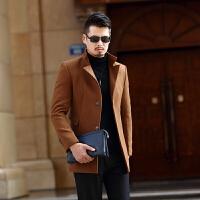 男士翻领羊毛呢子大衣中长款秋冬季男装青年呢大衣风衣加厚外套男
