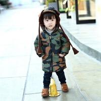 童装男童棉衣外套新款秋冬宝宝中小童上衣韩版迷彩中长款 图片色