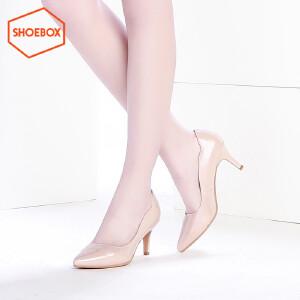 达芙妮旗下SHOEBOX/鞋柜新品尖头高跟鞋女 舒适酒杯跟浅口单鞋