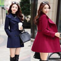 2018春季新款西装领毛呢外套女韩版修身显瘦中长款气质妮子大衣女