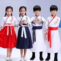 儿童古装改良汉服女童襦裙女中国风小孩演出服国学书童表演服装男