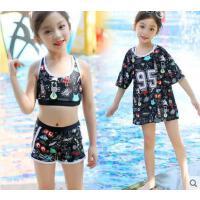 亲子泳衣一家三口新款分体女童成人沙滩裤母女款保守遮肚显瘦泳装