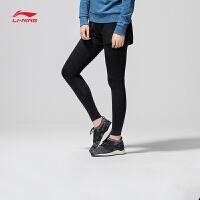 李宁2合1运动短裤女士2018新款训练系列弹性紧身假两件弹力运动裤AKSN002