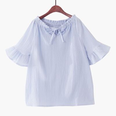 2018夏季新款韩版一字领露肩喇叭短袖纯色甜美小清新雪纺衫娃娃衫