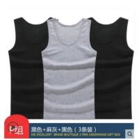 谢嘉儿三条装男士背心 纯棉运动健身无袖背心夏季韩版马甲潮宽松打底黑色+黑色+灰色