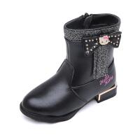 hello kitty童鞋女童皮靴公主靴子冬季新款大棉加绒中筒靴K6480DD901