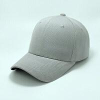 纯色鸭舌帽黑色棒球帽女韩版休闲百搭遮阳春男夏季同款帽子潮 浅灰色 排扣 可调节
