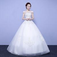 2018秋季新款婚纱礼服显瘦一字肩公主齐地韩式新娘中腰婚纱简约 乳白色