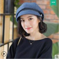 清新蝴蝶结淑女帽子女学院画家贝雷帽羊毛韩版时尚英伦风鸭舌帽