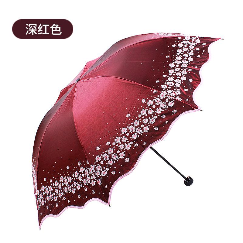 天堂伞防紫外线防晒伞遮晴雨伞黑胶折叠伞33230E梨花春色