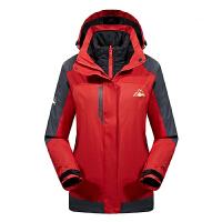 户外冲锋衣男女四合一西藏两件套羽绒服双面穿防水透气加厚保暖潮 红色 女款