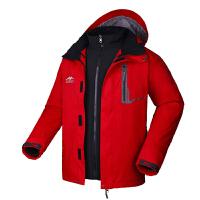 户外男三合一冲锋衣 新款抓绒透气两件套内胆可拆登山服 深红/灰色 X