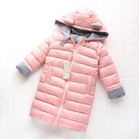 女童棉衣中长款柔软加厚款冬季新款耳朵连帽保暖外套棉袄