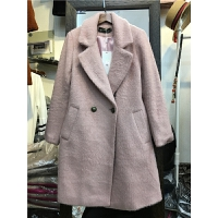 X6仿貂绒毛呢外套女 中长款冬季新款加厚西装领毛呢子大衣1.2
