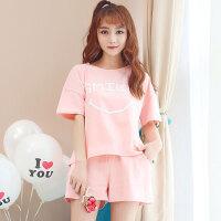 睡衣女夏季短袖韩版甜美学生两件套装可爱笑脸清新家居服外穿