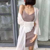 夏季防晒衣女喇叭袖雪纺空调沙滩开衫薄新款百搭中长款披肩外套潮