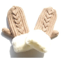 韩版全指毛线手套冬季女加厚保暖可爱卡通户外连指手套0039