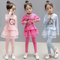 韩版时尚童装儿童两件套长袖中大童女孩衣服女童春装套装2018新款