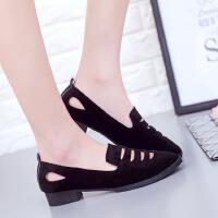 40大码女鞋41秋鞋42黑色43磨砂尖头浅口平底鞋孕妇平跟单鞋工作鞋 (801加厚底)