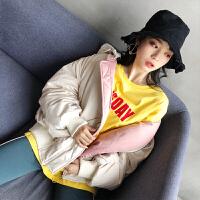 Freefeel 2018秋冬新款时尚羽绒棉服女短款流行金丝绒双面可穿棉衣DP805