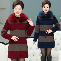 秋冬装中老年女装毛领条纹毛呢大衣女时尚妈妈装中长款毛呢外套女