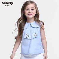 ochirly kids欧时力童装女童2017新款翻领刺绣无袖衬衫5J02013420