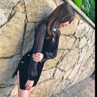 秋冬裙子女韩版2018新款网红时尚气质丝绒修身显瘦包臀旗袍连衣裙 黑色