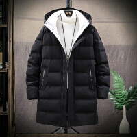 羽绒服男中黑色中长款青年潮流个性加绒加厚棉外套宽松男士棉服冬