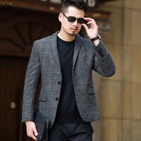 秋季男士休闲西服外套中年男装商务西装单件上衣男薄款爸爸装宽松 灰西5529 185XXL