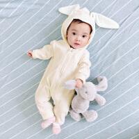 女婴儿连体衣服0岁3个月男宝宝新生儿春秋装冬季6卫衣外出服长袖