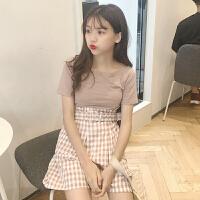 韩版时尚休闲套装夏装女装一字领短袖T恤打底衫上衣+阔腿裤两件套
