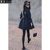 冬季新款名媛小香风中长款毛呢外套+加厚纯色打底裤时尚套装