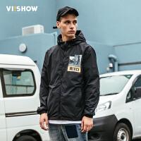 VIISHOW夹克男 2018春季新款男士外套 韩版潮流青年连帽印花上衣