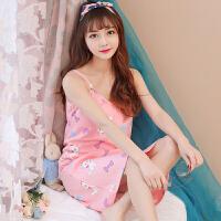 睡裙 女士U领卡通可爱性感无袖睡裙20219年夏季新款韩版气质时尚女式甜美清新女装家居服吊带裙