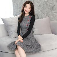 毛呢连衣裙秋冬20新款女装 修身韩版针织长袖中长款加厚打底裙 浅白色 好质量