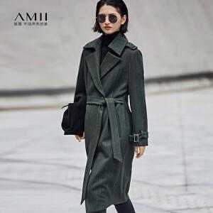 【品牌团 1件7折/2件5折】Amii[极简主义]时尚高品位 条纹毛呢外套 冬季翻驳领袖袢长款上衣