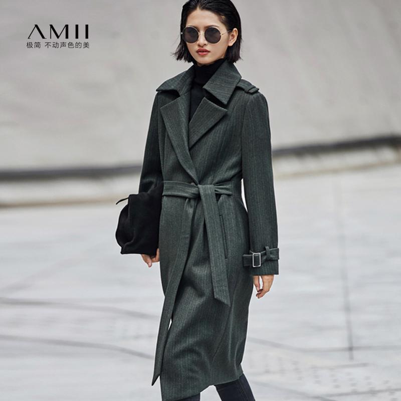 【当当19周年庆,满200减100上不封顶】Amii[极简主义]时尚高品位 条纹毛呢外套 冬季翻驳领袖袢长款上衣.