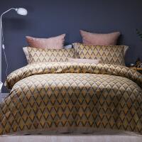 家纺时尚色织提花全棉四件套简约春季床品纯棉双人床单被套 奥菲丽娜 金咖