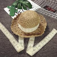 儿童草帽女可调节大沿遮阳帽度假沙滩帽夏季宝宝帽子可折叠百搭潮