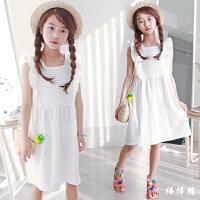 女童沙滩裙海边度假中大童夏季裙子儿童无袖公主小女孩白色连衣裙
