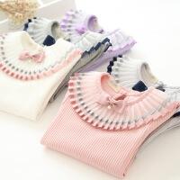 春季新款童装女童纯棉坑条打底衫T恤甜美公主T恤蝴蝶结上衣