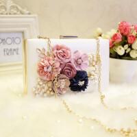 珍珠手包跨小方包链条宴会包手花朵新娘珍珠小包韩版新款包女手包手提礼服宴会包女