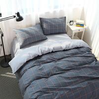 简约条纹格子床上四件套棉床单被套棉学生宿舍床上三件套1.8m