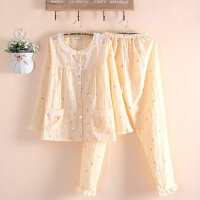 可爱薄款长袖睡衣女式春夏季梭织水洗棉布睡衣家居服套装